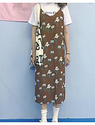 Manches Ajustées Robes Costumes Femme,Imprimé Décontracté / Quotidien simple Eté Sans Manches A Bretelles Micro-élastique
