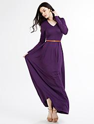 Women's Solid Deep V Plus Size / Club Thigh Split Sexy Swing Maxi Dress