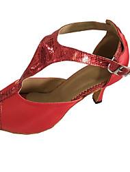 Персонализируемая Для женщин Латина Сандалии Для закрытой площадки Каблуки на заказ Красный