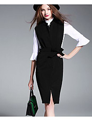 Women's Casual/Daily Simple Spring T-shirt Dress Suits,Solid Round Neck Long Sleeve Micro-elastic