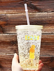 Summer Students Straw Plastic Cups Creative Ice Cups Cold Double Cooling