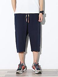 Hombre Sencillo Boho Activo Tiro Medio Microelástico Corte Ancho Chinos Pantalones,Holgado Un Color