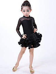 Latin Dance Kid's Cotton 2 Pieces Long Sleeve Dress Headpieces