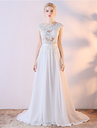 Sheath / Column Wedding Dress Beautiful Back Court Train Jewel Lace Satin Chiffon with Embroidered