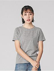 Damen Gestreift Einfach T-shirt,Rundhalsausschnitt Kurzarm Baumwolle