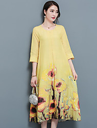 Women's Casual Vintage Loose Dress,Floral Round Neck Midi 3/4 Length Sleeve Linen Summer Mid Rise Inelastic Medium