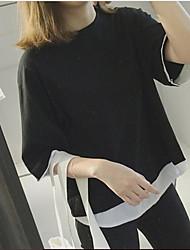 Damen Solide Sonstiges Einfach Sonstiges Normal T-shirt,Rundhalsausschnitt Sommer 3/4 Ärmel Baumwolle Mittel