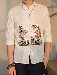 Men's Casual/Daily Vintage Simple Spring Summer Shirt,Solid Embroidery Stand Half-Sleeve Cotton Thin