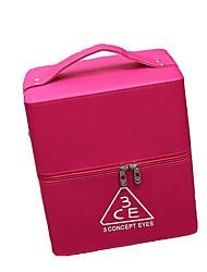 Women Cosmetic Bag PU All Seasons Stage Square Zipper Fuchsia Blushing Pink Black