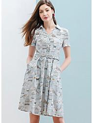 Dámské Ležérní Swing Šaty Tisk,Krátký rukáv Košilový límec Délka ke kolenům 100% bavlna Léto Mid Rise Lehce elastické Tenké