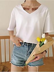 Damen Solide Einfach T-shirt,V-Ausschnitt Kurzarm Baumwolle