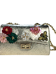 Women Bags All Seasons Poly urethane Shoulder Bag with Rhinestone Appliques Pearl Detailing Bead Sequined Floral Flower Petals
