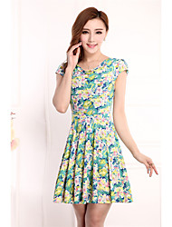 Women's Floral Patterns Going out Casual/Daily Loose Dress,Floral Round Neck Above Knee Short Sleeve Others Summer High Rise Stretchy Thin