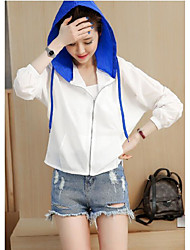 Women's Going out Casual/Daily Simple Jackets Summer Jacket,Print Letter Hooded Long Sleeve Regular Others