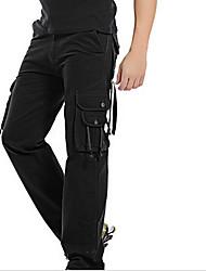 Masculino Simples Cintura Média Micro-Elástica Solto Calças,Solto Sólido