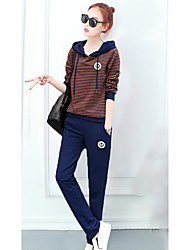 Women's Daily Casual Contemporary Spring Summer T-shirt Pant Suits,Striped Hooded Long Sleeve