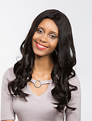 MAYSU  Attractive Natural  Black  Long Curly Hair Front lace Synthetic Wig