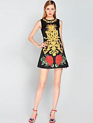 Для женщин На выход На каждый день Пляж Очаровательный Уличный стиль А-силуэт Платье Цветочный принт Жаккард,Круглый вырез Выше коленаБез