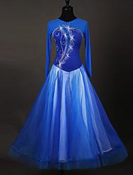 Danse de Salon Robes Femme Spectacle Chinlon Applique Fantaisie 1 Pièce Manche longue Taille haute Robes