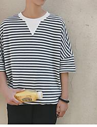 Herren Gestreift Einfach Alltag Normal T-shirt,Rundhalsausschnitt 3/4 Ärmel 100% Baumwolle