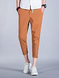 Hombre Cosecha Sencillo Activo Tiro Medio Microelástico Ajustado Chinos Pantalones,Delgado Un Color