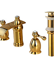 Widespread Waterfall with  Brass Valve Two Handles Three Holes for  Gold , Bathroom Sink Faucet