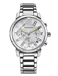 Women's Fashion Watch Quartz Calendar Water Resistant / Water Proof Three Time Zones Alloy Band Sparkle Silver