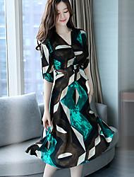 Women's Going out Street chic Sheath Dress,Geometric V Neck Midi ½ Length Sleeve Polyester Summer Mid Rise Micro-elastic Medium
