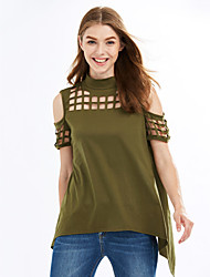 Women's Off The Shoulder|Cut Out Going out / Casual/Daily Sexy / Simple Spring / Summer Cut Out Split Backless T-shirtSolid Crew Neck Short Sleeve