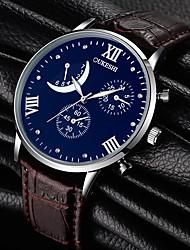 Homens Relógio de Moda Relógio de Pulso Quartzo Strass Couro Banda Pendente Preta Marrom
