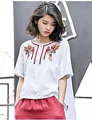 Damen Blumen Einfach Normal T-shirt,Rundhalsausschnitt Sommer Kurzarm Baumwolle