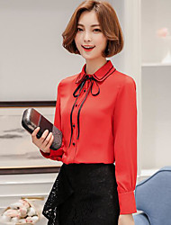 Women's Daily Simple Blouse,Solid Shirt Collar Long Sleeve Polyester