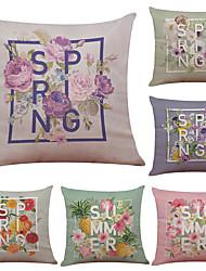 Set of 6 Creative Simple Flower Pattern Linen Pillowcase Sofa Home Decor Cushion Cover  Throw Pillow Case (18*18inch)