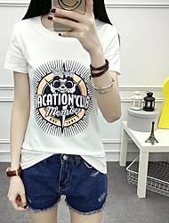 Damen Druck Einfach T-shirt,Rundhalsausschnitt Kurzarm Baumwolle