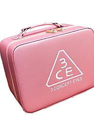 Women Cosmetic Bag PU All Seasons Stage Square Zipper Amethyst Blushing Pink