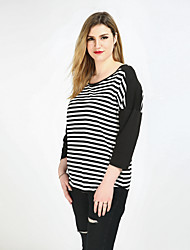Really Love Women's Plus Size Casual/Daily Holiday Sexy Vintage Simple Spring Summer T-shirt,Striped Color Block Patchwork Round Neck Long Sleeve