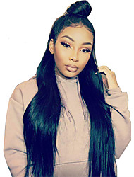 Silk Straight Indian 360 Lace Frontal Wigs with Baby Hair for Black Women Pre Plucked 180% Density 360 Virgin Hair Lace Wigs with Bleached Knots