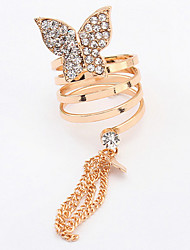 Euramerican Fashion Rhinestone Butterfly Tassel Rings Lady Daily Ring Movie Jewelry
