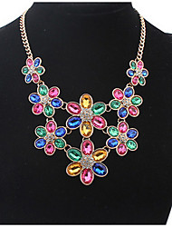 Euramerican Fashion  Multicolor Luxury Elegant  Big Flowers Necklace Lady Party Movie Jewelry