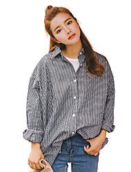 Women's Graduation Business Other Casual Simple Cute Street chic Summer Shirt,Striped Lines / Waves Stripe Shirt Collar Long Sleeve Cotton