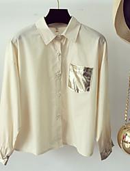 Women's Casual Cute Blouse,Solid Shirt Collar Long Sleeve Linen
