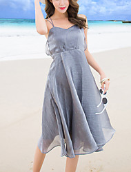 Women's Beach Party Sexy Fashion Slim A Line Swing Dress Solid Strap Backless Knee-length Sleeveless Polyester Summer High Waist