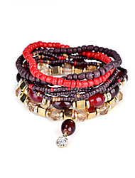 Lureme Bohemian Beads Multi Strand Textured Stackable Bracelet Set for Women