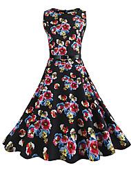 Balançoire Robe Femme Fête/Soirée Décontracté / Quotidien Vintage Chic de Rue,Imprimé Col Arrondi Mi-long Sans Manches Coton Rayonne