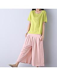 Chemisier Pantalon Costumes Femme Printemps Eté Manches Courtes Col Arrondi Stylé Micro-élastique