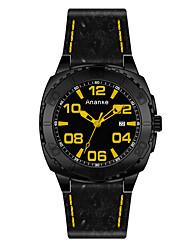 Masculino Relógio Esportivo Relógio de Moda Chinês Quartzo Couro Banda Casual Preta