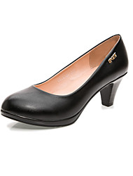 Women's Heels Formal Shoes Leather Spring Fall Office & Career Chunky Heel Black 5in & over