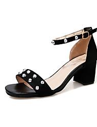 Women's Sandals PU Summer Low Heel Black Beige 3in-3 3/4in