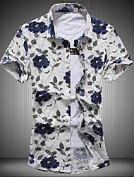 Men's Plus Size Going out Vintage Street chic Spring Summer Shirt,Floral Button Down Collar Short Sleeve Cotton Medium