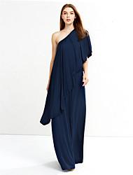 Women's Off The Shoulder Vintage Loose DressSolid Asymmetrical Maxi / Knee-length Long Sleeve
